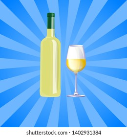 Wine drinking poster bottle of white vino and glass isolated on background with rays. elite classic alcoholic drink in modern glassware without label