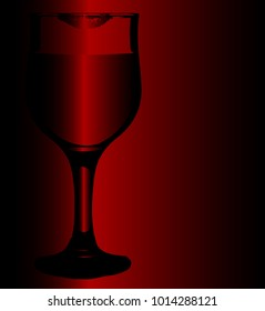 A wine glas with lipstick mark on a ruby red background