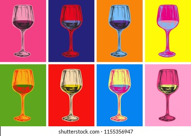 Wine Glass Hand Drawing Illustration Alcoholic Drink. Pop Art Style.