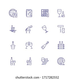 Wine industry icons. Set of line icons on white background. Wine storage, champagne, corkscrew. Alcoholic drinks concept. can be used for topics like winery, restaurant, beverage