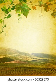 Wine list menu with vineyard and grapes green leafs. Vintage paper background for the wine poster.