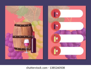 Wine map cover and price list with wooden barrel sealed bottle. glass of delicious red vino bunches grapes behind raster illustration