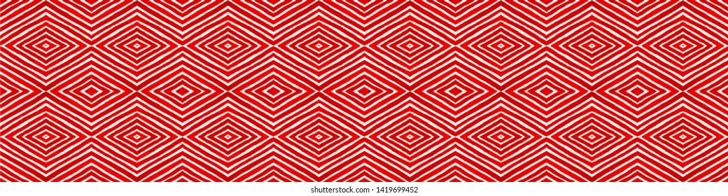 Wine red Seamless Border Scroll. Geometric Watercolor Frame. Appealing Seamless Pattern. Medallion Repeated Tile. Marvelous Chevron Ribbon Ornament.