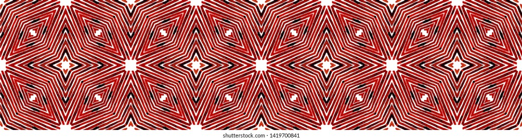 Wine red Seamless Border Scroll. Geometric Watercolor Frame. Artistic Seamless Pattern. Medallion Repeated Tile. Incredible Chevron Ribbon Ornament.