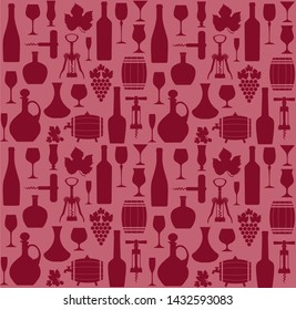 Wine seamless pattern og icons on red background. Wine color style.