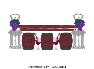 Wine themed jump with bottle openers and grapes as the jump standards and wine barrels with spigots pouring wine into glasses as the jump middle.