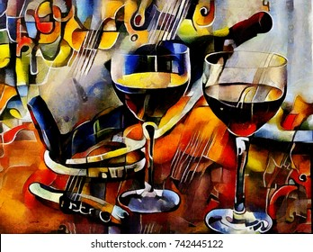 Wine themes in the style of cubism. Bottles, glasses and grapes on the table. Executed in oil on canvas with elements of pastel painting. In the style of Picasso, van Gogh and Georges Braque.
