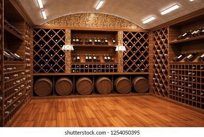 Wine vault. 3D rendering