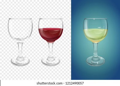Wineglass 3D illustration of realistic crockery for wine. Isolated transparent glasses or glassware mockup template models set for alcoholic drinks, empty and with half of white and red wine