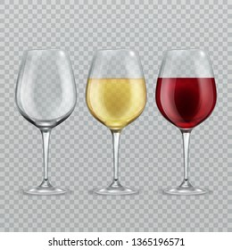 Wineglass. Empty with red and white wine in transparant wineglasses isolated glassware set