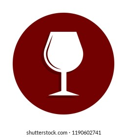 wineglass icon in badge style. One of casino collection icon can be used for UI UX on white background