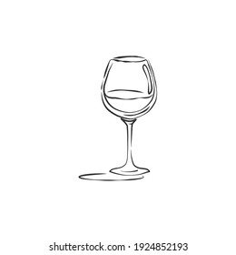 Wineglass red wine with shadow. Drink element. Retro glassware hand draw, design for any purposes. Restaurant illustration. Contour simple sketch. Isolated on white background in engraving style.
