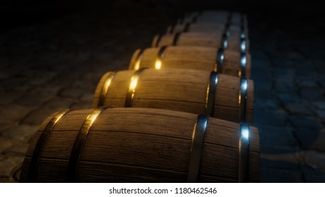 Winemaking barel 3d illustration with copy space