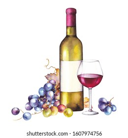Watercolor Wine Bottle Images Stock Photos Vectors Shutterstock