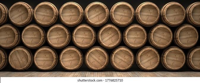 Winemaking, storage concept. Old barrels stacked on wooden floor, black background, banner. Wine, beer, alcohol cellar background. 3d illustration