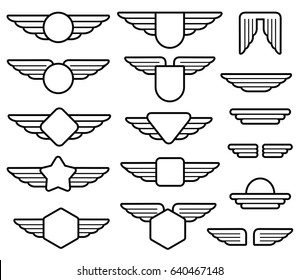 Wing army emblems, aviation badges, pilot labels line set. Shield with wings insignia illustration