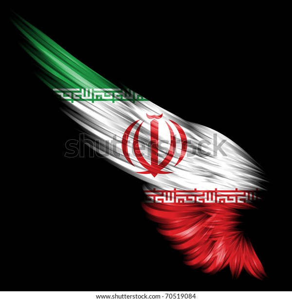 The  wing with Iranian flag on black background
