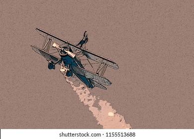 Wing walker on biplane posterized illustration rose colored background