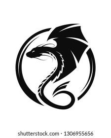 Winged dragon circle logo, symbol.