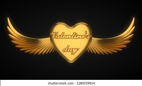 winged golden heart. suitable for love, emotions and valentine's day themes. 3d illustration