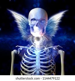 Winged Skeleton and Death Eye. 3D rendering