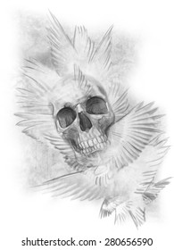 Winged skull flying Resolution 3508x4677 pixels, ready per printing 300 DPI