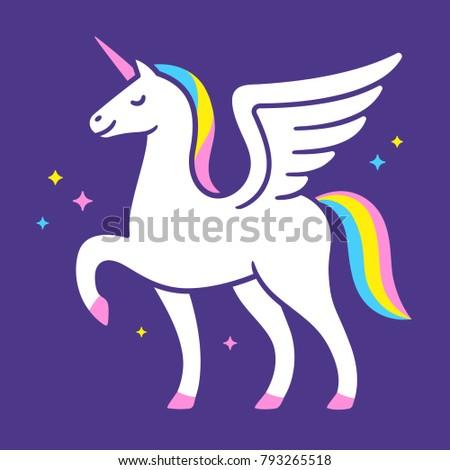 Winged Unicorn Illustration Cute Cartoon Fairy Stock Illustration