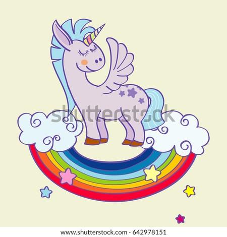 Winged Unicorn Standing On Rainbow Clouds Stock Illustration