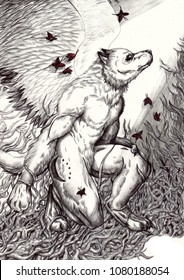 A winged werewolf kneeling surrounded by light and red butterflies