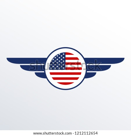 wings badge usa flag winged american stock illustration 1212112654