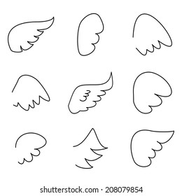 Wings collection. Illustration set with angel or bird wing icon isolated on white background