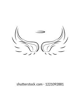 Wings, crown hand drawn icon. Element of wings icon for mobile concept and web apps. Hand drawn Wings, crown icon can be used for web and mobile