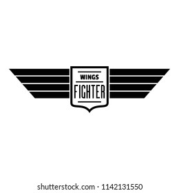 Wings fighter logo. Simple illustration of wings fighter logo for web design isolated on white background