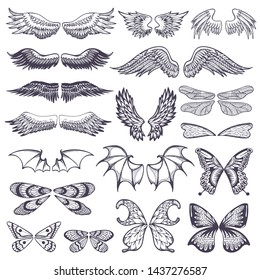 Wings flying winged angel with wing-case of bird and butterfly with wingspan illustration black wing-beat tattoo silhouette set isolated on white background