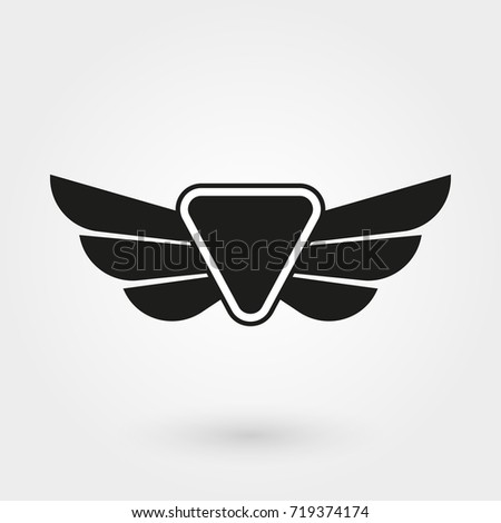 wings icon winged logo emblem collection stock illustration