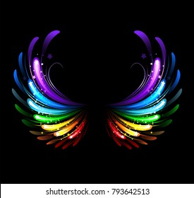 wings, painted with colorful sparkles on a black background