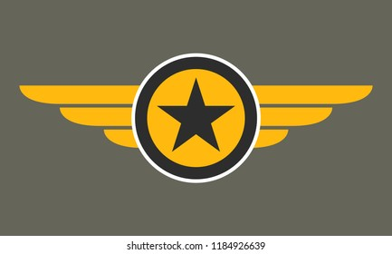 Wings with star icon. Winged logo template.  Air force badge, army, military and aviation emblem.