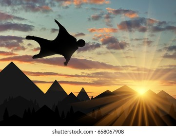 Wingsuit extreme sports. A man in a suit for wingsuit flying, mountains in background at sunset