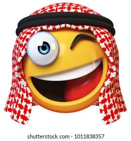 Winking Arab emoji isolated on white background, smiling Arabian winking face emoticon 3d rendering