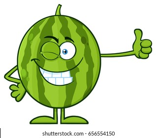 Winking Green Watermelon Fresh Fruit Cartoon Mascot Character Giving A Thumb Up. Raster Illustration Isolated On White Background