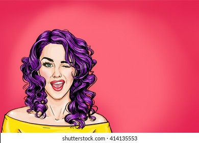 Winking pop art woman on pink background. Advertising poster of sexy  girl