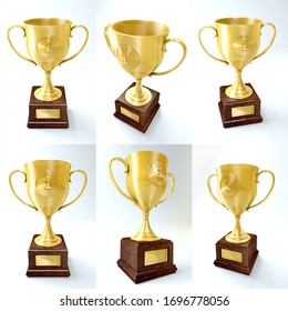 Winner cup isolated. Golden trophy on white background. Illustration. Different views