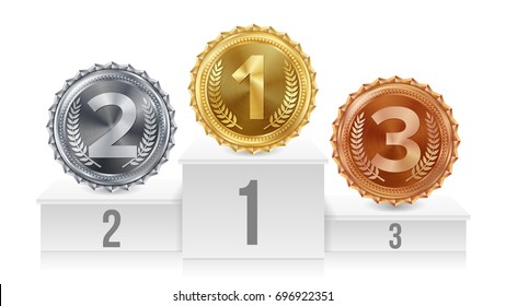 Winner Pedestal With Gold, Silver, Bronze Medals. White Winners Podium. Number One. Red Ribbon, Olive Branch Competition Trophy. Isolated Illustration.