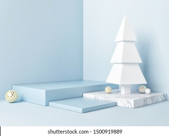 Winner podium with Christmas tree on blue background, 3d render, 3d illustration