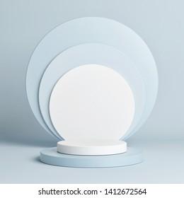 Winner podium geometrical shape blue color, 3d render, 3d illustration