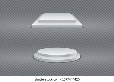 Winner podium set. Round and square 3d two-stage podium, pedestal or platform on transparent background.  set