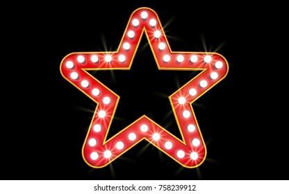 Winner. Retro light sign. Red stars on black background. Vintage style banner. 3d illustration