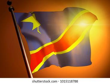 winner waving Congo Democratic Republic flag against the sunset, 3d render