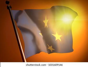 winner waving Micronesia flag against the sunset, 3d illustration
