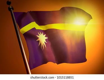winner waving Nauru flag against the sunset, 3d render
